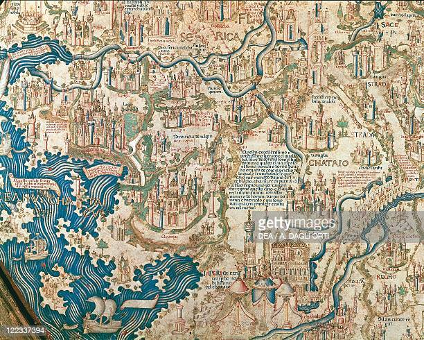 Cartography 15th century Map of China From World map by Camaldolese monk Fra Mauro 1449 Detail