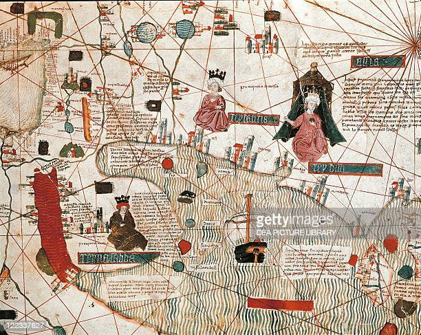 Cartography 15th century Map of the Red Sea Arabia and Iran from Catalan world map