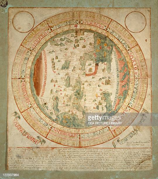 Cartography 15th century Mappa Mundi Medieval world map by Giovanni Leardo Venice 1448 Ink and colors on parchment