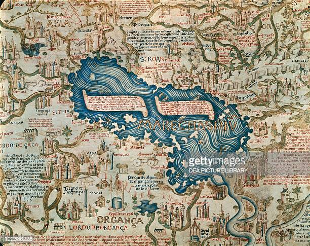 Cartography 15th century World map by Camaldolese monk Fra Mauro 1449 Detail The Caspian Sea