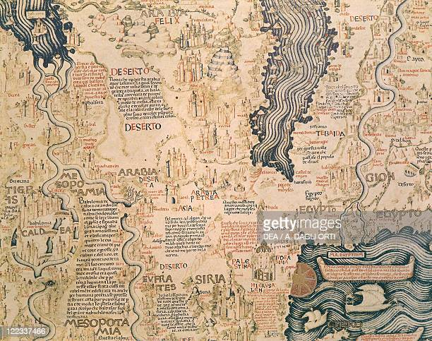 Cartography 15th century World map by Camaldolese monk Fra Mauro 1449 Detail Northern Africa