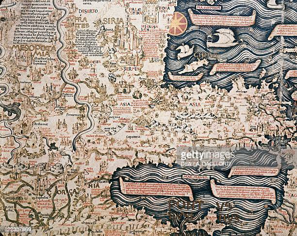 Cartography 15th century World map by Camaldolese monk Fra Mauro 1449 Detail Asian Turkey and Mesopotamia