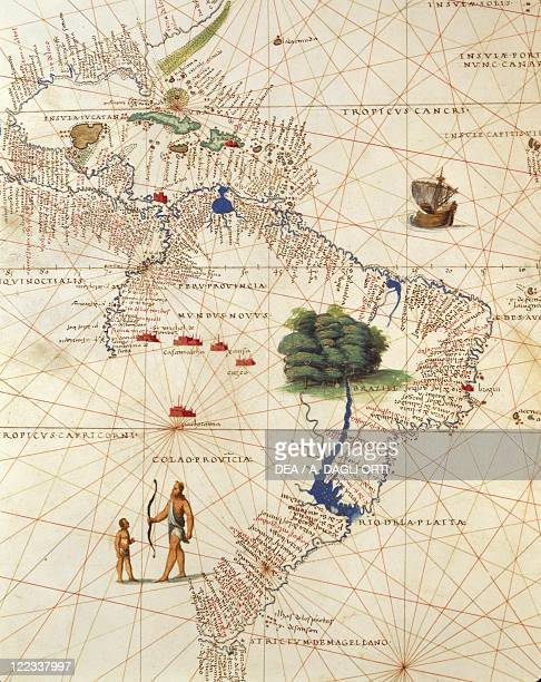 Cartography 16th century Africa Europe and part of Americas Central America and Brazil from Atlas of the World in thirtythree Maps by Battista Agnese...