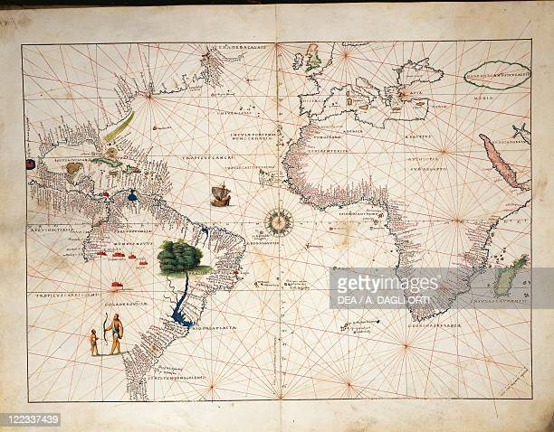 Cartography 16th century Africa Europe and part of Americas from Atlas of the World in thirtythree Maps by Battista Agnese 1553