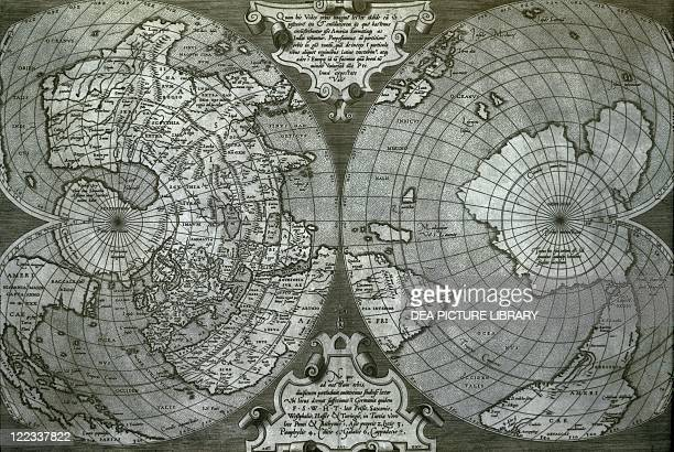 Cartography 16th century Double cordiform world map by Antonio Salamanca inspired by Gerardo Mercatore Roma 1550 Copper print on paper