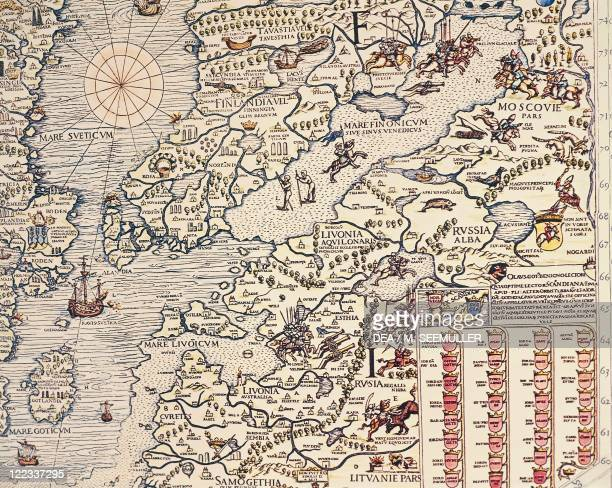 Cartography 16th century Finland and Russian territories From Carta Marina by Olaus Magnus Venice 1539 Detail