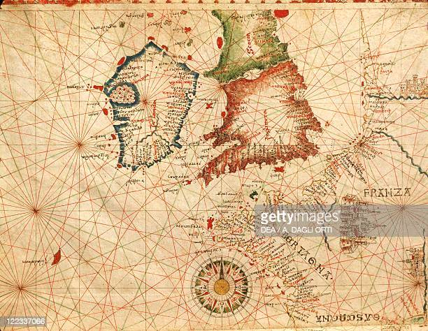 Cartography 16th century Ireland and Great Britain From a Portolan atlas in three charts by John Xenodocos from Corfu cm 32 x 223