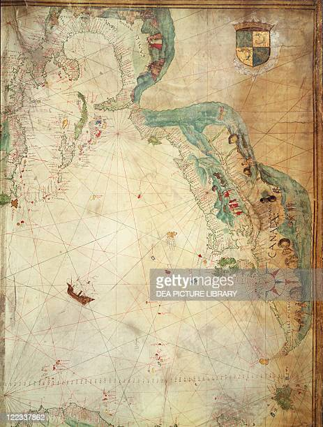 Cartography, 16th century. Jacques Cartier in Canada. Map by Pierre Descelliers, 1536-1542. Detail.