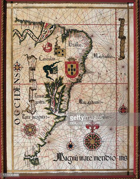 Cartography 16th century Map of Brazil from a portolan chart by Diego Homen 1561