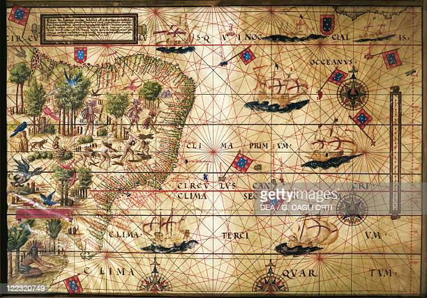 Cartography 16th century Map of Brazil from Miller Atlas by Pedro and Jorge Reinel Lopo Homen and Antonio de Holanda 1519