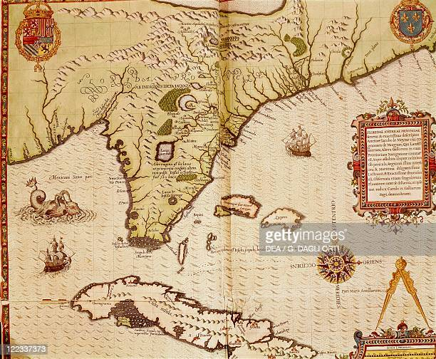 Cartography 16th century Map of Florida and Cuba by Theodore de Bry 1563