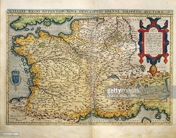 Cartography 16th century Map of France from Theatrum Orbis Terrarum by Abraham Ortelius Antwerp 1570