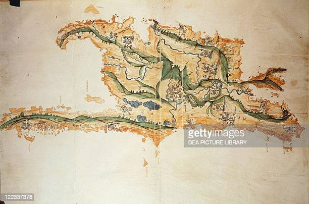 Cartography 16th century Map of Island of Hispaniola From the Codex Raro