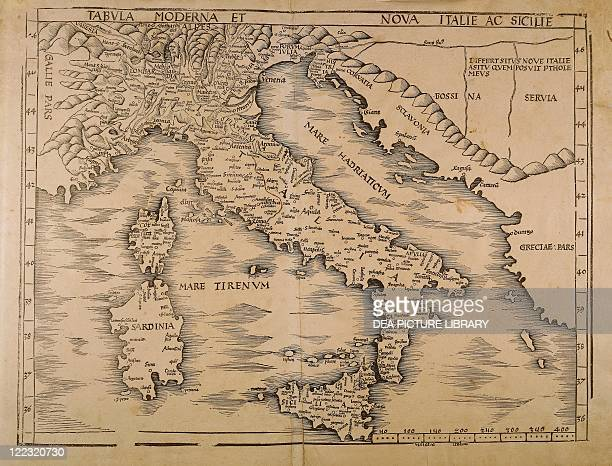 Cartography 16th century Map of Italy From Geographiae Opus Novissima by Martin Waldseemueller 1513 Woodcut