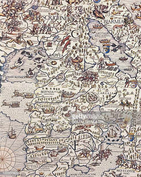 Cartography 16th century Map of Nordic countries and Lapland From Carta Marina by Olaus Magnus 1539