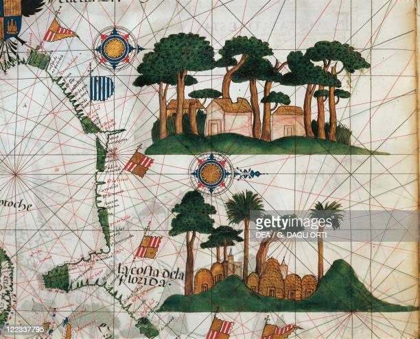 Cartography 16th century Map of North America detail depicting vegetation and American Indians' huts From the Atlas by Lazaro Luis 1563