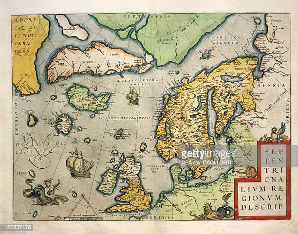 Cartography 16th century Map of Northern Europe from Theatrum Orbis Terrarum by Abraham Ortelius Antwerp 1570