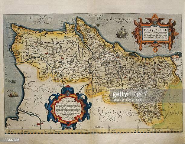 Cartography 16th century Map of Portugal from Theatrum Orbis Terrarum by Abraham Ortelius Antwerp 1570