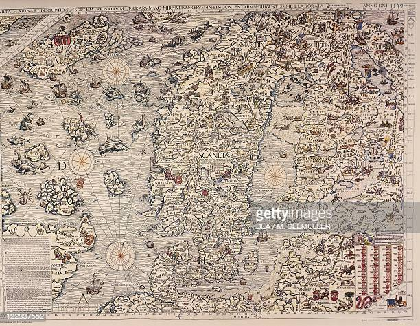 Cartography 16th century Map of Scandinavia From Carta Marina by Olaus Magnus 1539