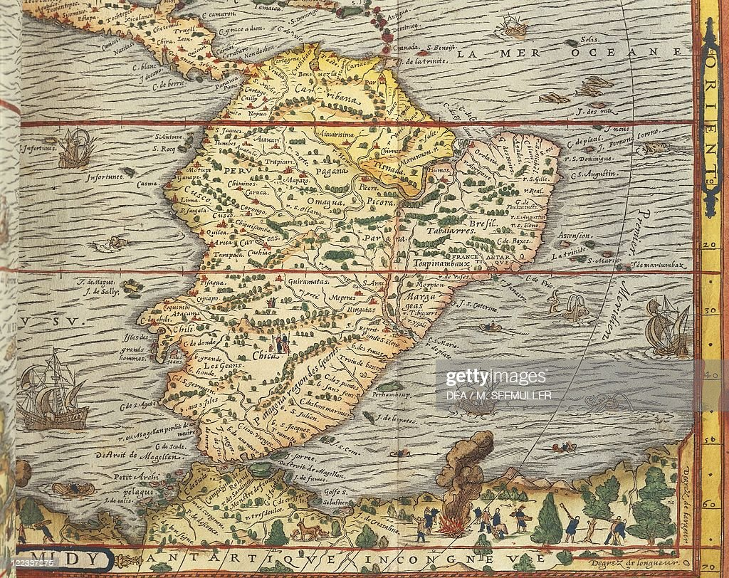 Cartography, 16th century. Map of Southern America by Andre ...