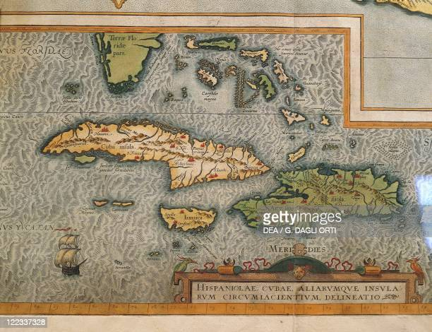 Cartography 16th century Map of the Antilles Islands