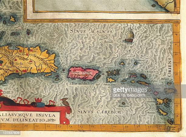 Cartography 16th century Map of the Island of Hispaniola Puerto Rico and part of the Antilles From Abraham Ortelius Theatrum Orbis Terrarum 1570