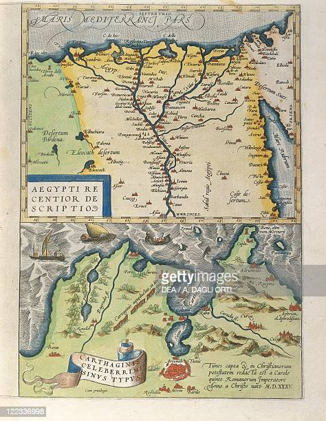Cartography 16th century Map of the Nile Delta and of ancient city of Carthage from Theatrum Orbis Terrarum by Abraham Ortelius Antwerp 1570