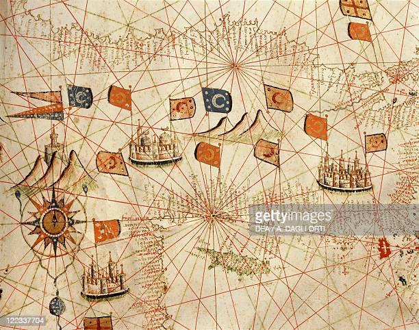 Cartography 16th century Nautical chart of the CentralEastern Mediterranean Sea detail with Turkey by Giorgio Sideri called Callapoda or Calopodio da...