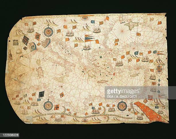 Cartography 16th century Nautical chart of the Mediterranean Sea Black Sea and Sea of Azov by Giorgio Sideri called Callapoda or Calopodio da Candia