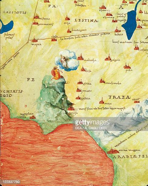 Cartography 16th century Nile river delta Red Sea and Mount Sinai Mount Sinai from Atlas of the World in thirtythree Maps by Battista Agnese 1553