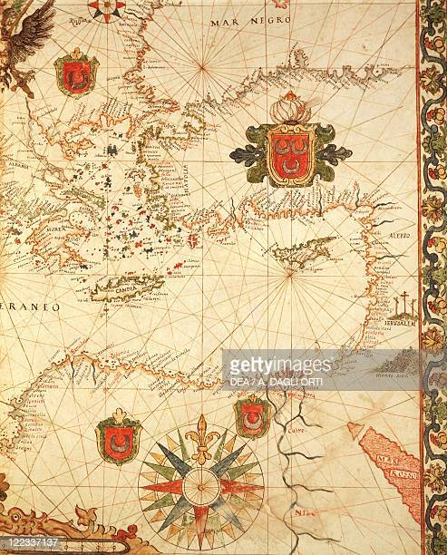 Cartography 16th century Portolan chart of the Ottoman Empire by Ioannes Superantius