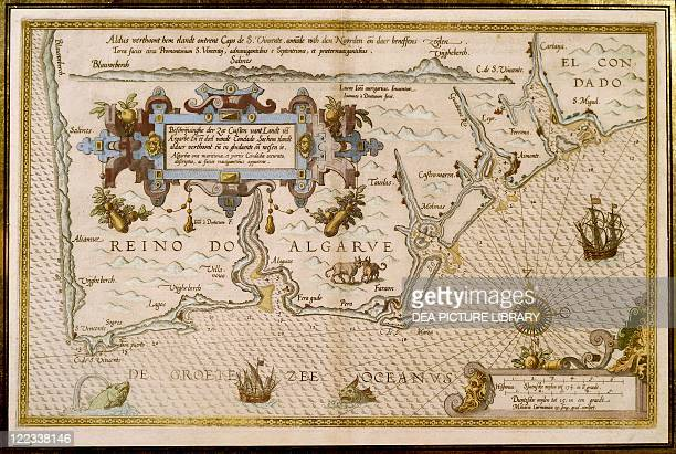 Cartography 16th century Southern Portugal and the Kingdom of Algarve From the Speculum nauticum super maris navigation occidentalis contectum by...