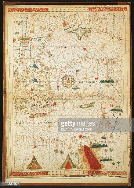 Cartography 16th century The Eastern Mediterranean the Aegean Sea Black Sea and a rose of 32 winds From a Portolan atlas in three charts by John...