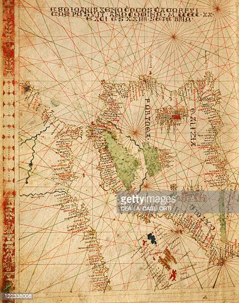 Cartography 16th century Western Mediterranean Sea Spain and Northern Africa From a Portolan atlas in three charts by John Xenodocos from Corfu cm 32...