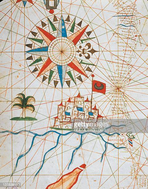 Cartography 17th century Alexandria Egypt from a portolan atlas consisting of six charts by Placido Caloiro and Francesco Oliva 1646 Parchment
