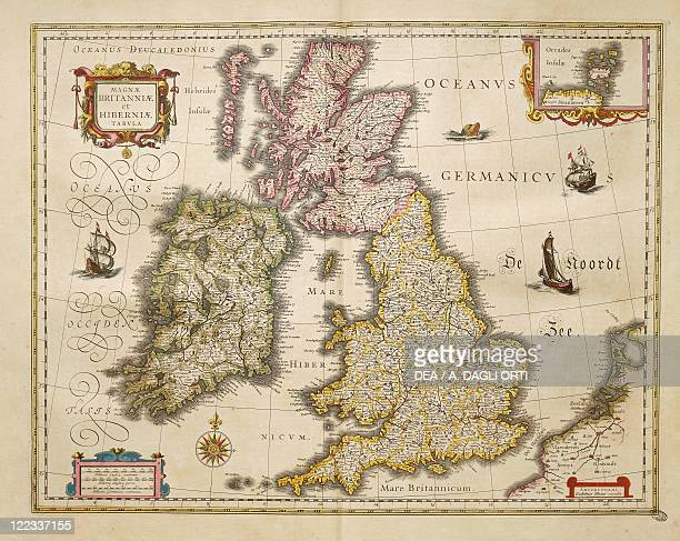 Cartography 17th century Great Britian and Ireland From Theatrum Orbis Terrarum by Willem Bleau Amsterdam 16351645