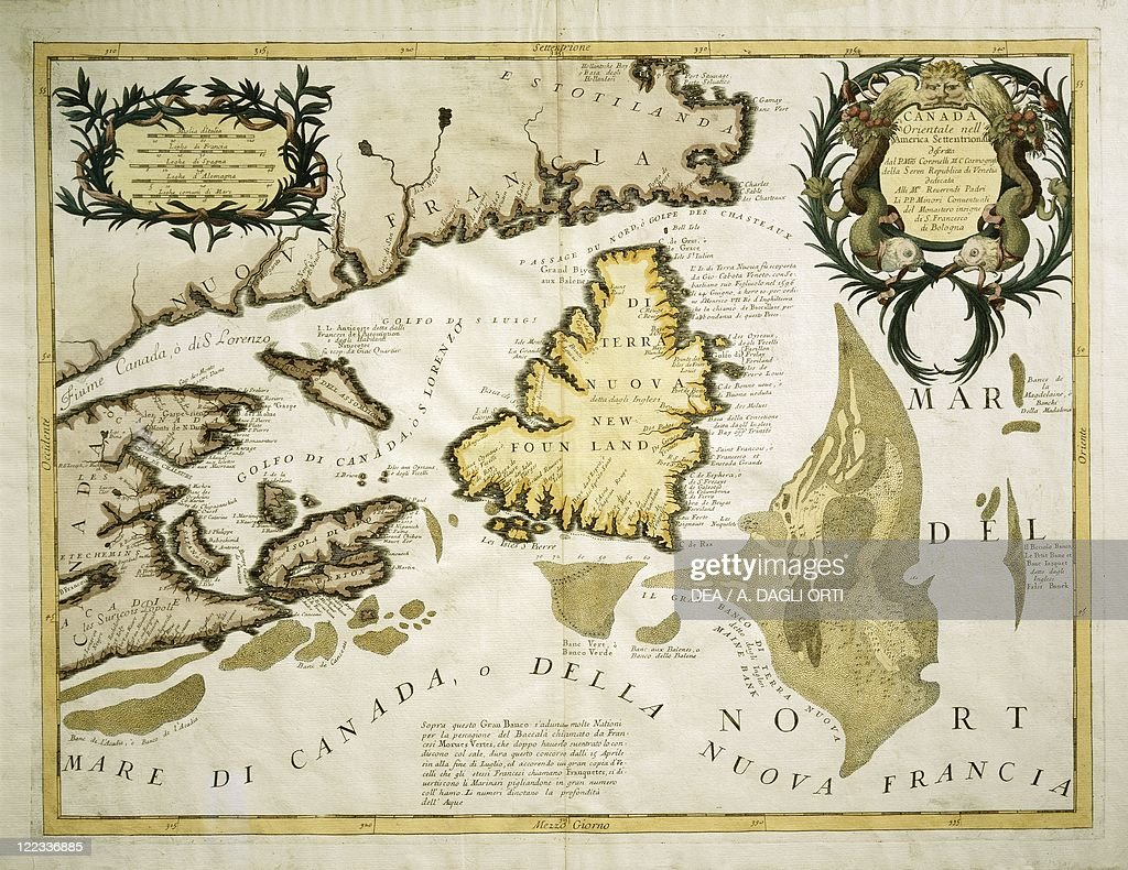 map of eastern canada and newfoundland drawn by vincenzo maria