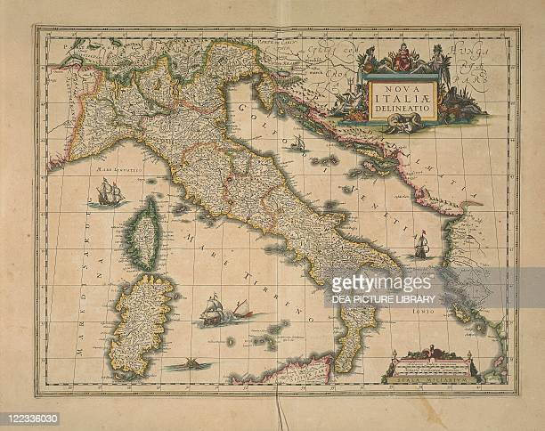 Cartography 17th century Map of Italy by Joan Blaeu