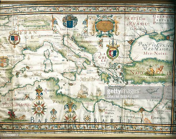 Cartography 17th century Map of the Mediterranean and the Black Sea by French admiral Albin Roussin 1654