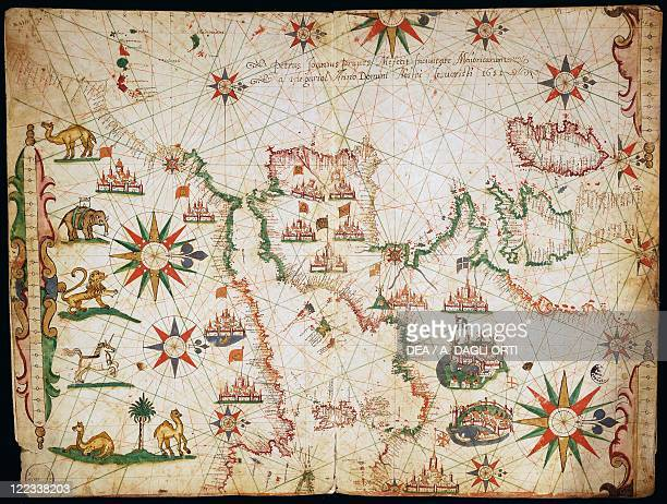 Cartography 17th century Nautical chart of the Balearic Islands the Iberian Peninsula and the northwestern coast of Africa Detail of the first chart...