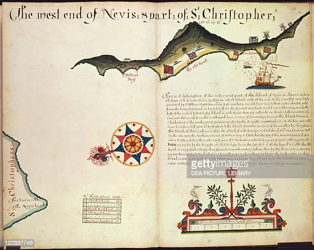 Cartography 17th century The island of Nevis and part of Saint Kitts Lesser Antilles
