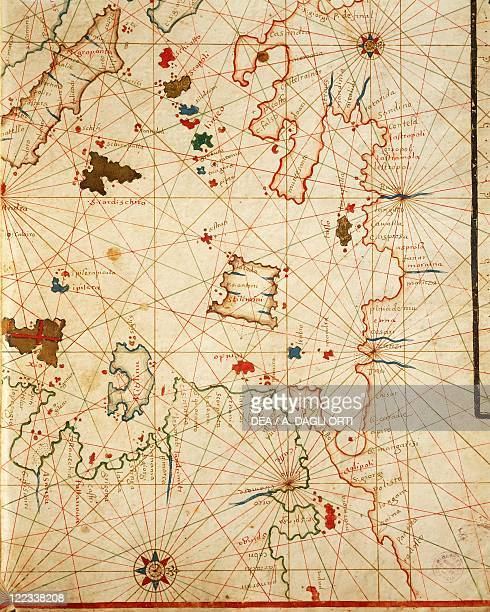 Cartography 17th century The Peloponnese from a portolan atlas consisting of six charts by Placido Caloiro and Francesco Oliva 1646 Parchment