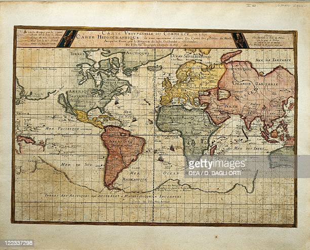 Cartography 17th century Universal trade map planisphere with the routes of navigation to Eastern and Western Indies 1686 Engraving