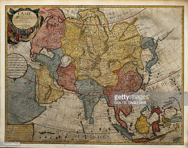 Cartography 18th century Map of Asia by Guillaume de L'Isle 1700 Engraving