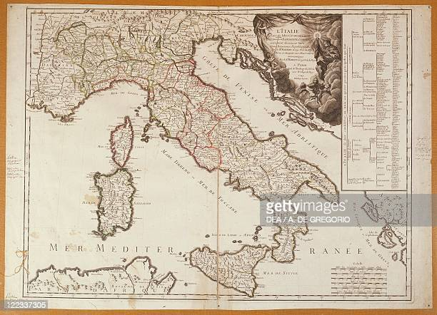 Cartography 18th century Map of Italy in 1743