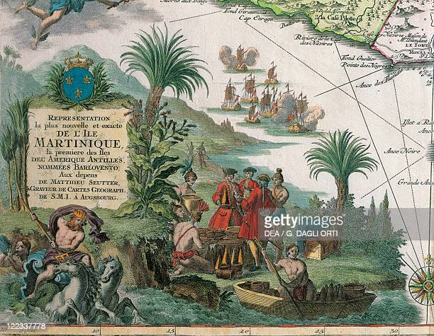 Cartography 18th century Map of Martinique created by Matthieu Seutter Details Merchants and Native American Indian