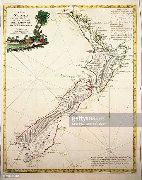 Cartography 18th century Map of New Zealand by Antonio Zatta according to the discoveries of James Cook Venice 1778
