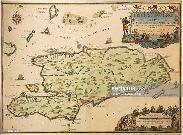 Cartography 18th century Map of Santo Domingo created by Nicolas de Fer 1723