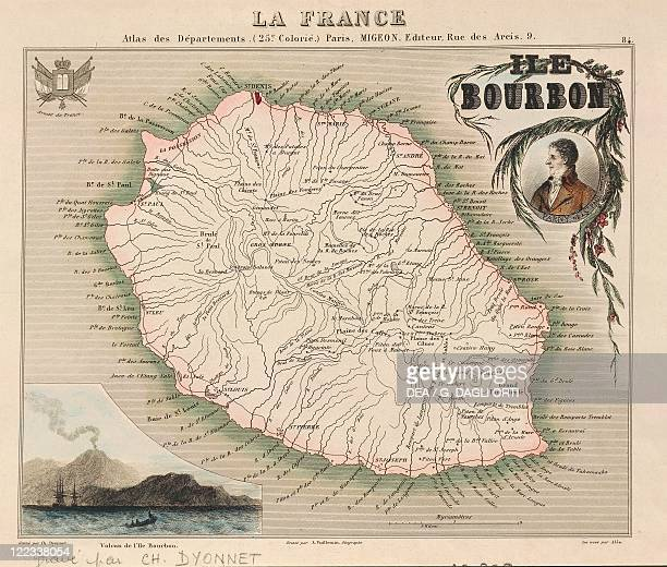 Cartography 19th century Map of Bourbon Island present day Reunion Island Engraving by Charles Dyonnet