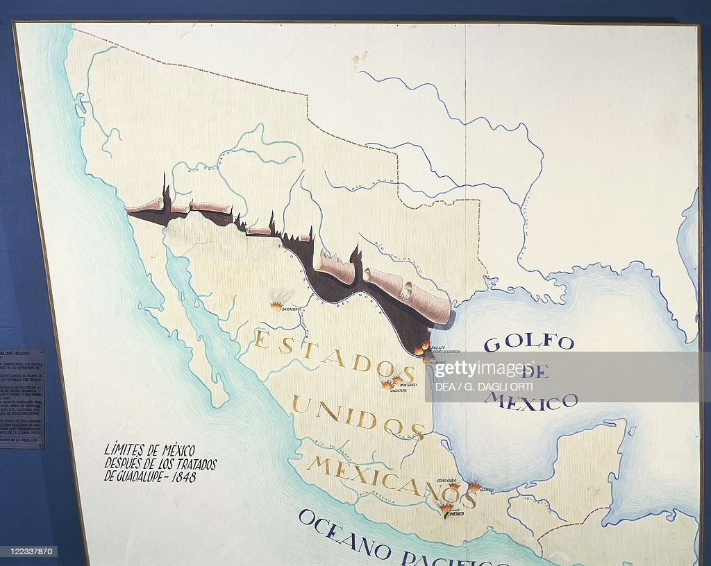 Map of Mexico with new boundaries established by Treaty of Guadalupe on February 2, 1848 : News Photo